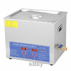 10 L Liter Stainless Steel Industry Heated Ultrasonic Cleaner Heater withTimer US