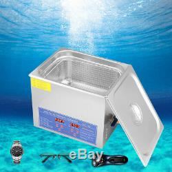 10 L Liter Stainless Steel Industry Heated Ultrasonic Cleaner Heater withTimer USA
