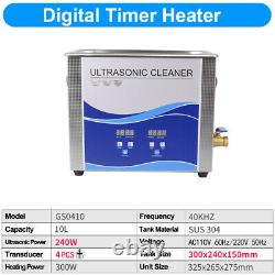 10L 240With300W Stainless Steel Industry Heated Ultrasonic Cleaner Heater Timer CE