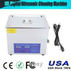 10L 40kHz Stainless Steel Ultrasonic Cleaner Heating Machine Heater withTimer USA