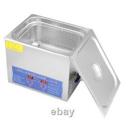 10L Digital Cleaning Machine Ultrasonic Cleaner Bath Tank Timer Heated Machine