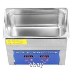 10L Digital Cleaning Machine Ultrasonic Cleaner Bath Tank withTimer Heated Cleaner