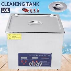 10L Digital Ultrasonic Cleaner Tank Timer Heated Stainless Steel Cleaning Bath