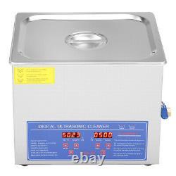 10L Digital Ultrasonic Cleaner Watch Cleaning Machine Bath Tank Timer Heating US