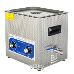 10L Heated Ultrasonic Cleaner Sonic Heater Timer Stainless Steel Jewelry Glasses