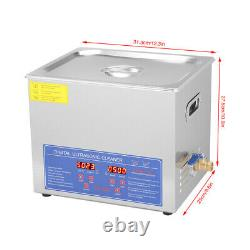 10L Industry Heated Ultrasonic Cleaner Heating Heater Stainless Steel withTimer