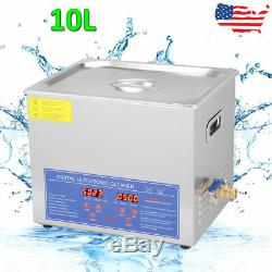 10L Liter Stainless Steel Digital Heated Industrial Ultrasonic Cleaner withTimer