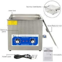 10L Liter Stainless Steel Ultrasonic Cleaner Heated Machine Heater withTimer 40kHz