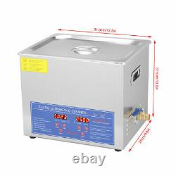 10L Professional Digital Ultrasonic Cleaner Machine Bath Tank With Timer Heated
