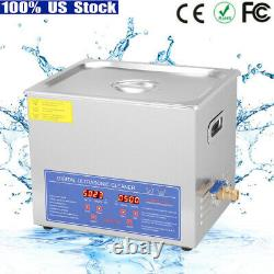 10L Stainless Steel Ultrasonic Cleaner Heating Cleaning Machine Heater with Timer
