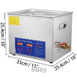 10l 10 l Heated Ultrasonic Cleaner 250w Cleaning 4 Transducers Brushed Tank