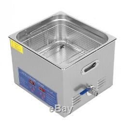 15L Ultrasonic Heating Cleaner Jewelry Cleaning Machine Timer Stainless Steel