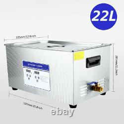 22L Digital Ultrasonic Cleaner Machine WithTimer Heated Cleaning Stainless Steel
