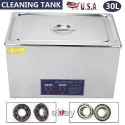 30L Digital Cleaning Machine Ultrasonic Heated Cleaner Bath Tank Timer Industry
