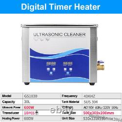40KHz 30L Stainless Steel 600W Digital Ultrasonic Cleaner Cleaning Heating Tank