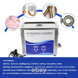 6.5L Ultrasonic Cleaner 180/300W Heating Bath For Metal Hardware Fuel Injector U