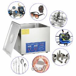 Commercial 15L Stainless Steel Heated Ultrasonic Cleaner with Digital Timer