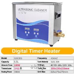 Digital 6.5L Ultrasonic Cleaner 180With300W With Heating Bath Dental Machine US
