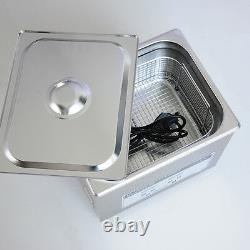 EFLE 220V Stainless Steel Ultrasonic Cleaner 10L Digital Timer Heated Cleaning