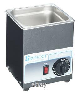 NEW! Sonicor Stainless Steel Ultrasonic Cleaner withHeat & Timer, 0.5 Gal S-50TH