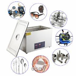 New 30L Ultrasonic Cleaner 304 Stainless Steel Industry Heated Heater withTimer