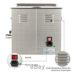 New Stainless Steel 10L Industry Heated Ultrasonic Cleaner High Performance