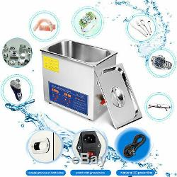 New Stainless Steel 10L Liter Industry Heated Ultrasonic Cleaner Heater withTimer