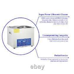 Professional Digital Ultrasonic Cleaner Machine with Timer Heated Cleaning 10L U