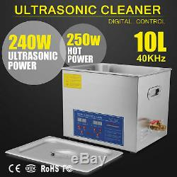 Stainless Steel 10 L Liter Industry Heated Ultrasonic Cleaner Heater withTimer US