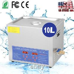 Stainless Steel 10L Digital Ultrasonic Cleaner Industry Heated Heater withTimer US