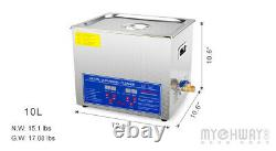 Stainless Steel 10L Digital Ultrasonic Cleaner Machine With Timer Heated 60Hz