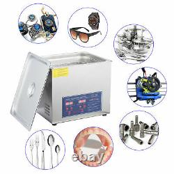 Stainless Steel 10L Liter Industry Heated Ultrasonic Cleaner Heater withTimer USA