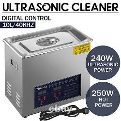 Stainless Steel 10L Liter Industry Ultrasonic Cleaner Heated Heater withTimer