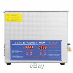 Stainless Steel 10L Ultrasonic Cleaner Liter Industry Heated WithTimer Jewelry USA
