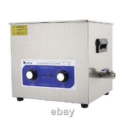 Stainless Steel 15L Capacity Industry Heated Ultrasonic Cleaner Heater Timer US