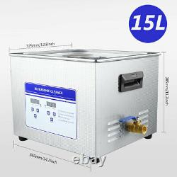 Stainless Steel 15L Industry Ultrasonic Cleaner Heated Heater withTimer Low Noise