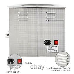 Stainless Steel 15L Liter Industry Ultrasonic Cleaner Heated Heater withTimer US