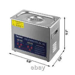 Stainless Steel Industry Ultrasonic Cleaner 3L Heated Heater withTimer USA