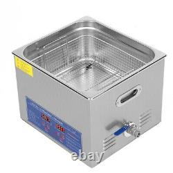 Ultrasonic Cleaner 15 L Liter Stainless Steel Industry Heated Clean Glasses US
