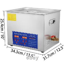 Ultrasonic Cleaner 15L Liter Stainless Steel Industry Heated Clean Glasses