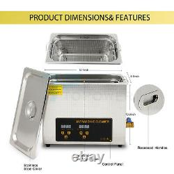 Ultrasonic Cleaner 300W Heated Parts Cleaner 6L for Small Carburetors Injectors