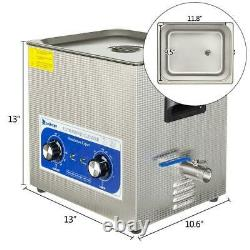ZOKOP 10L Ultrasonic Cleaner Solution Jewelry Glasses Carbs Lab Clinic Heated US